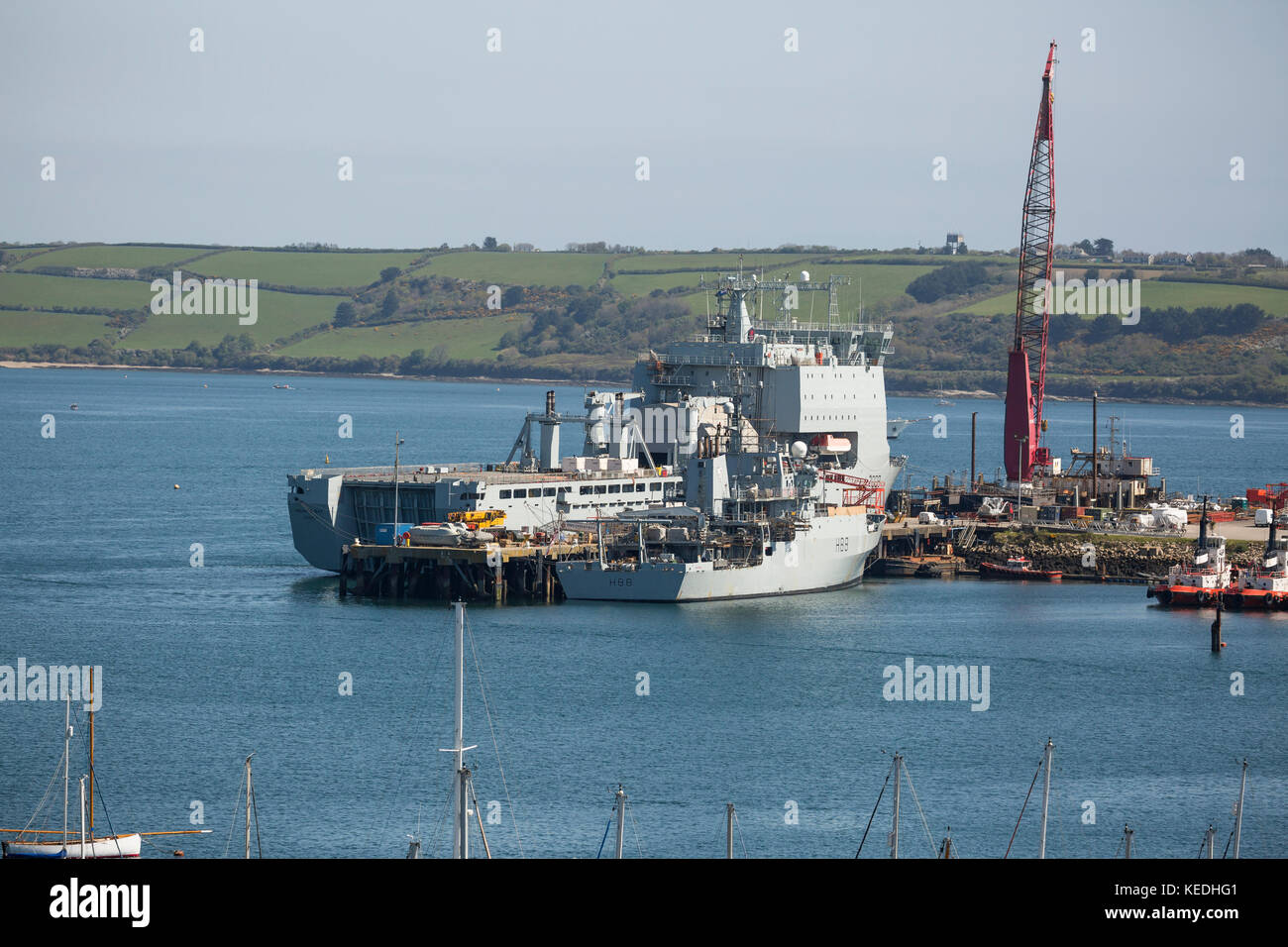 HMS Mounts Bay in home port of Falmouth UK with HMS Enterprise alongside Stock Photo