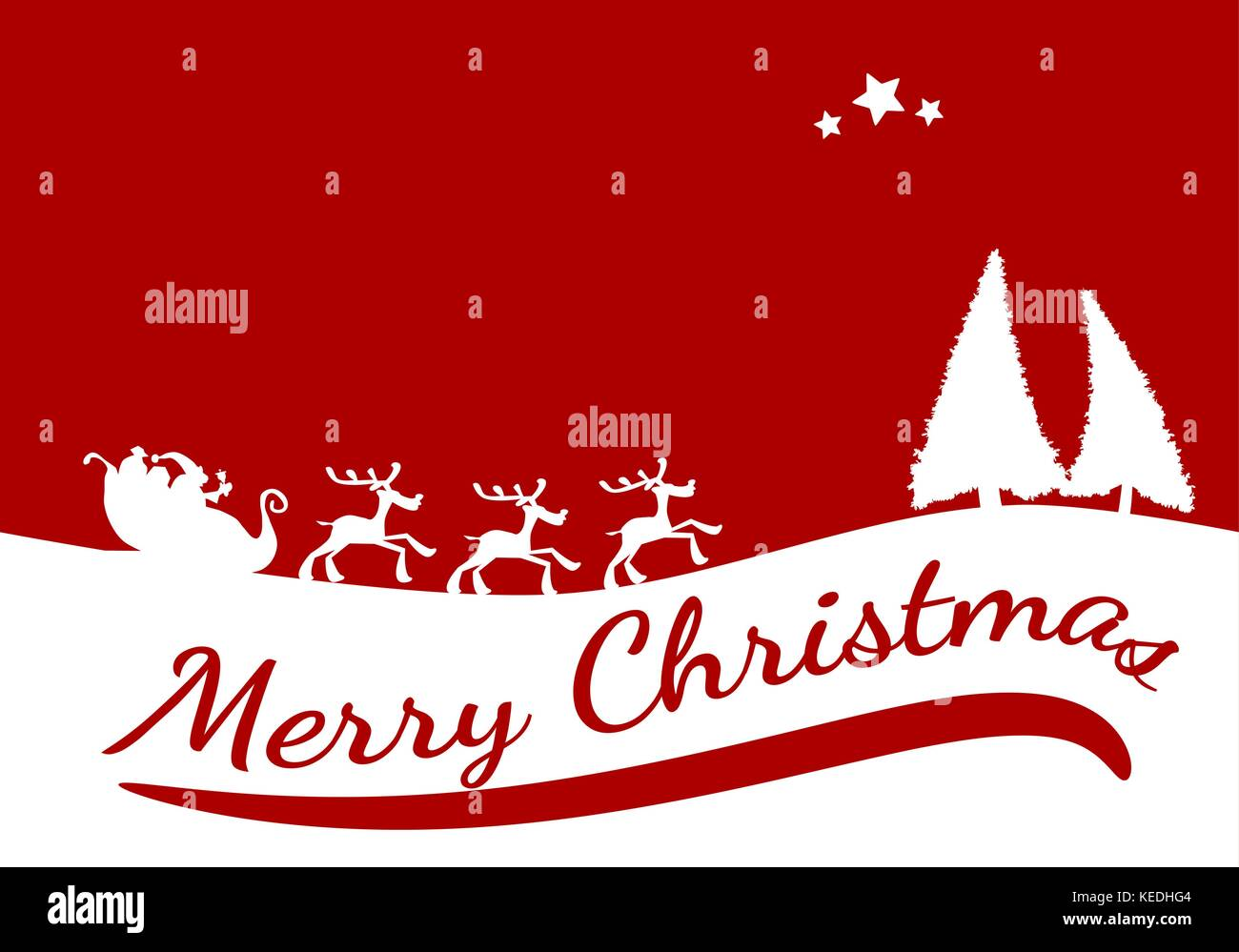 Red Christmas Card Background With The Words Merry Christmas Vector