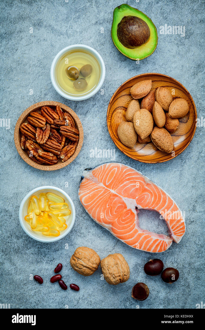 Selection food sources of omega 3 and unsaturated fats. Super food high omega 3 and unsaturated fats for healthy - Stock Image