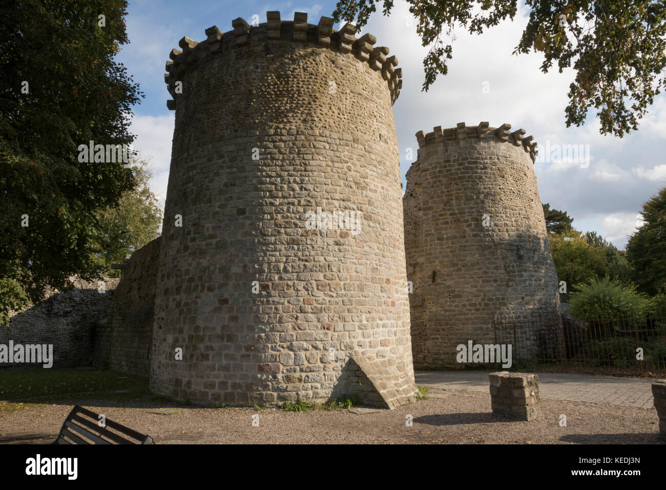 Twin towered, medieval gate, entrance to the old city, St Valery sur Somme Stock Photo