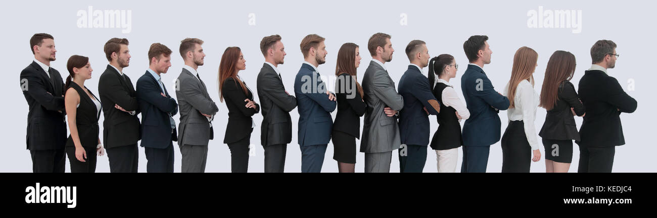 Profile of a business team in a single line against white background - Stock Image
