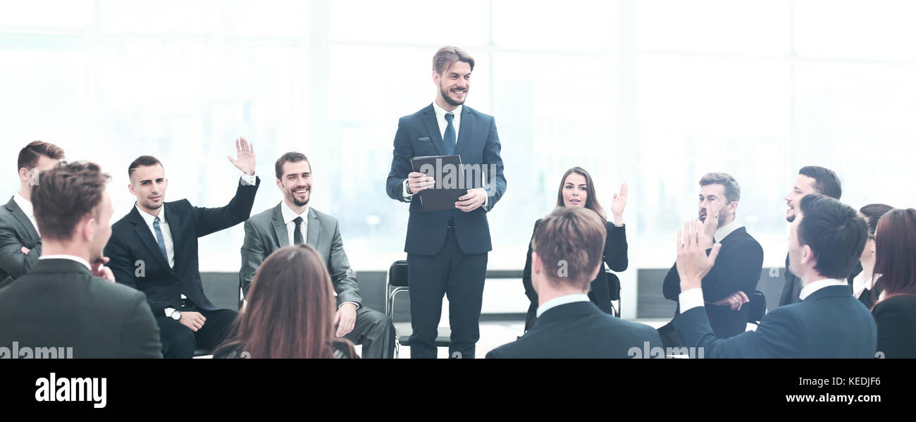 Presentation to the large number of people. Communication with e - Stock Image