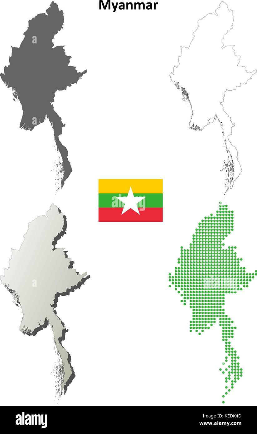 Myanmar outline map set  - Stock Vector
