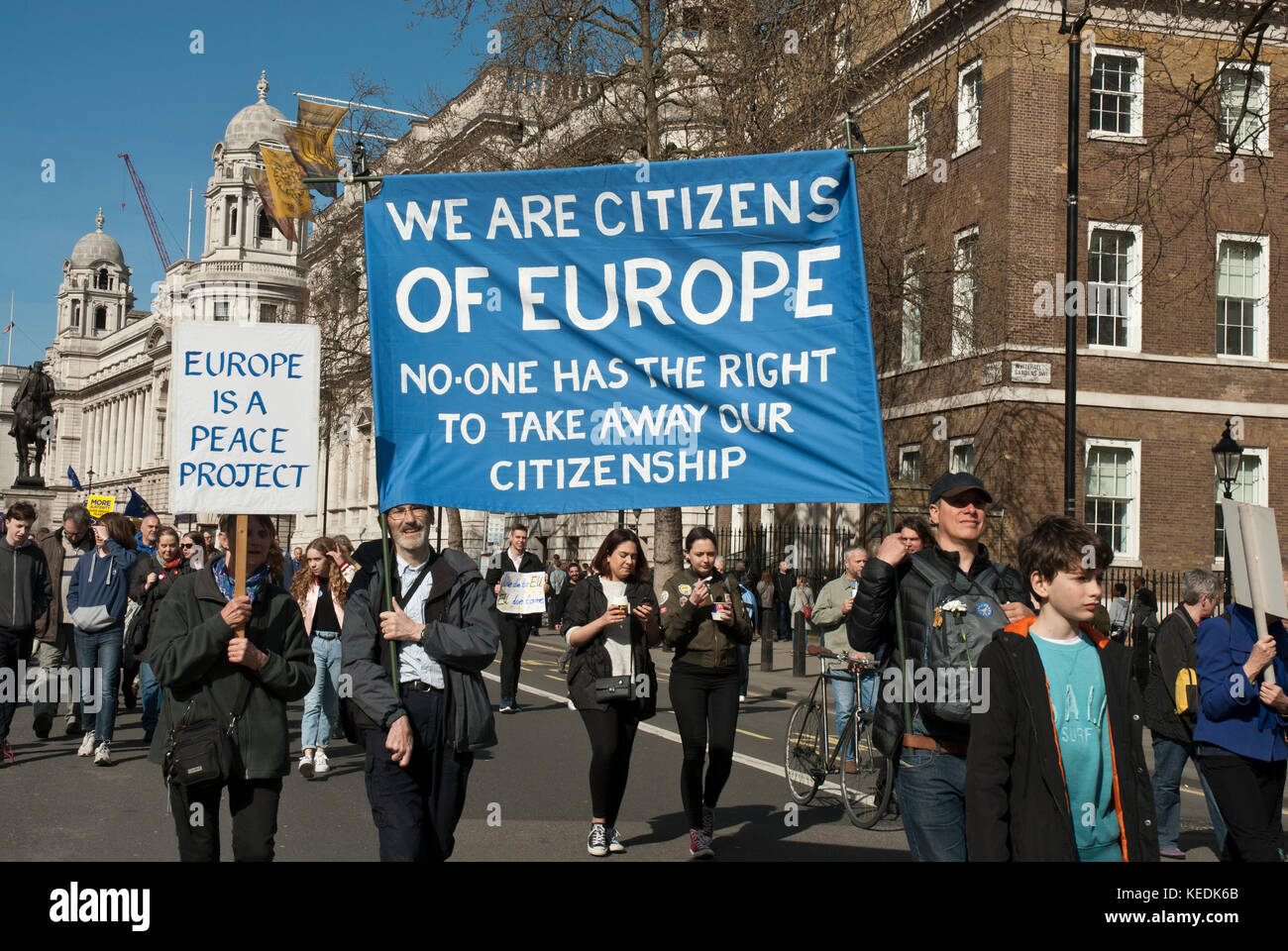 Demonsrtation, support of EU Remain. Banners 'We are citizens of Europe, no one has the right to take away our - Stock Image