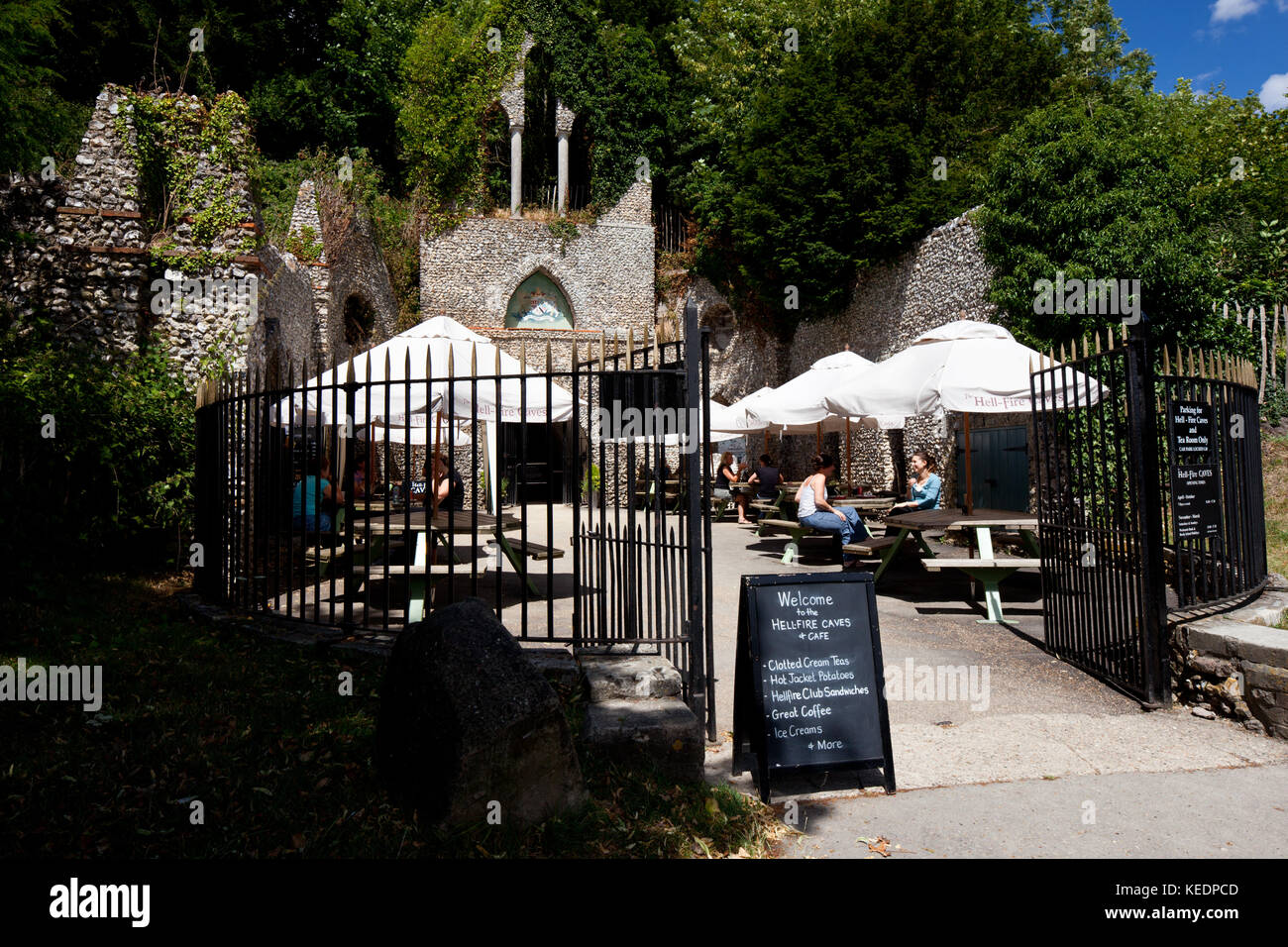 Hell-Fire Caves: entrance and Cafe. 2010. Hell-Fire Caves. West Wycombe. Buckinghamshire. England. - Stock Image