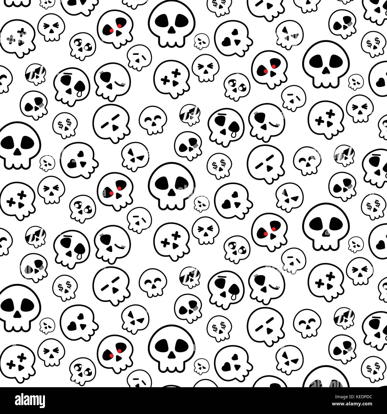 Simple Line Of Halloween Skeleton Head Icon Pattern In Variety Emotion On White Background For Illustrator