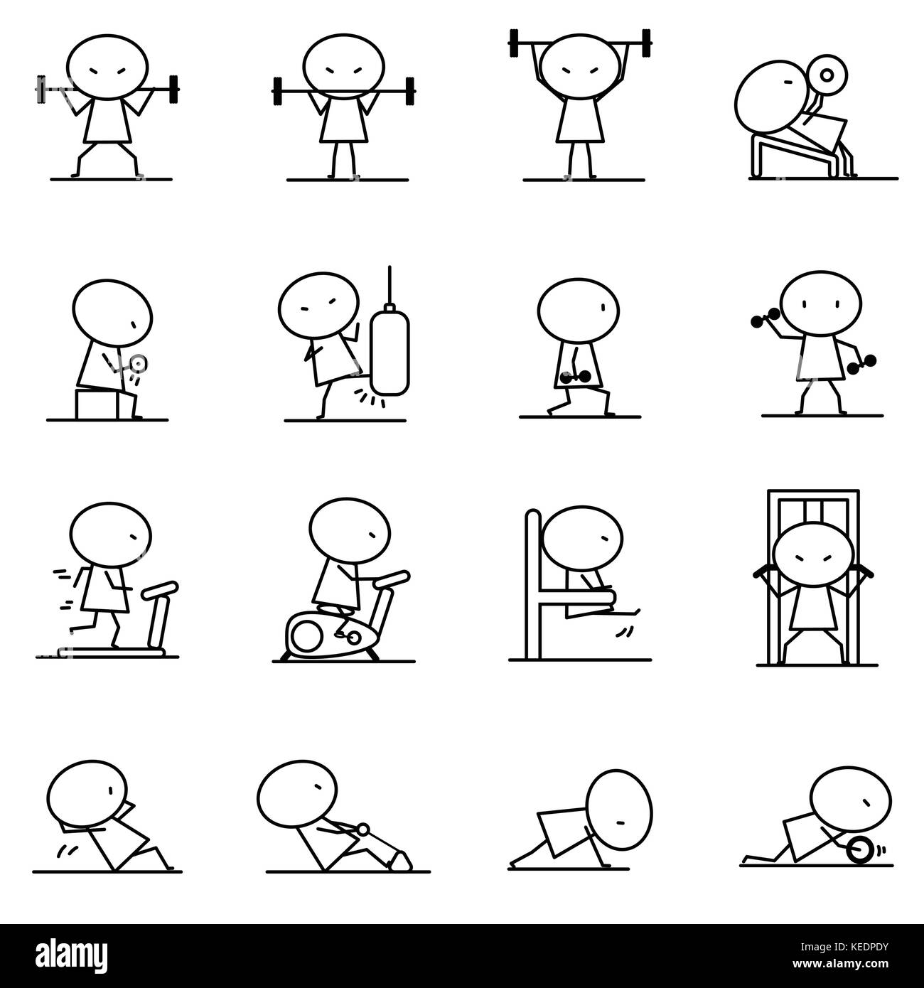 Set of Cartoon simple line character in variety action of Excercise fitness training concept for vector graphic - Stock Image