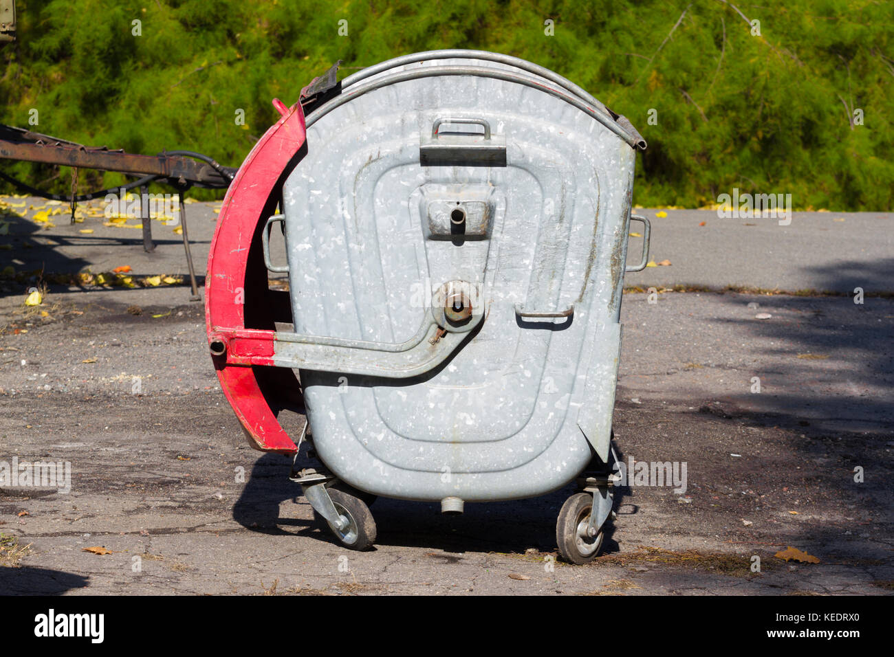 Single trash can. Metal container. Recycle, ecology Stock Photo