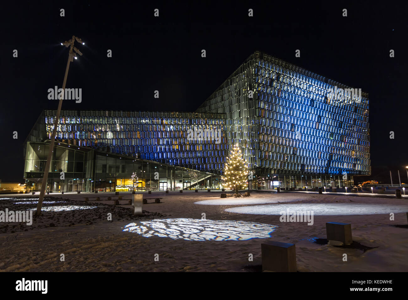 Harpa concert hall and conference center in Reykjavík, Iceland. The building features a distinctive colored glass, Stock Photo