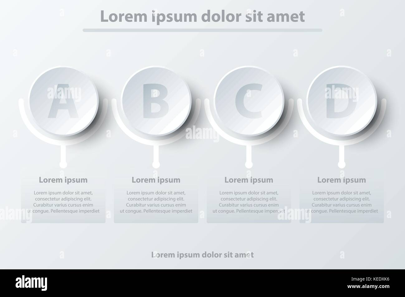 Four simple 3d white paper puzzle topic for website presentation.