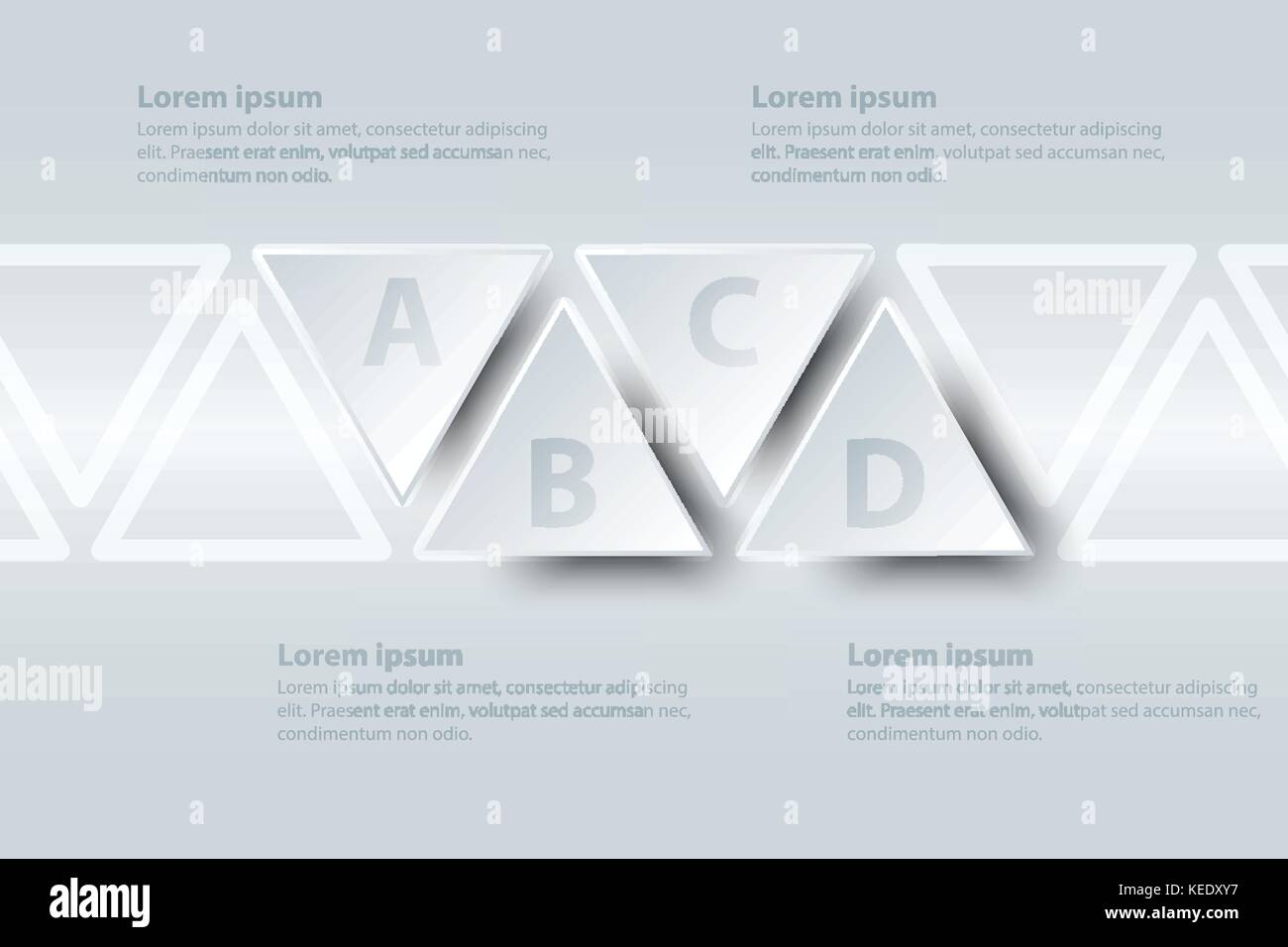 Four topics simple white paper 3d triangle on timeline for website.