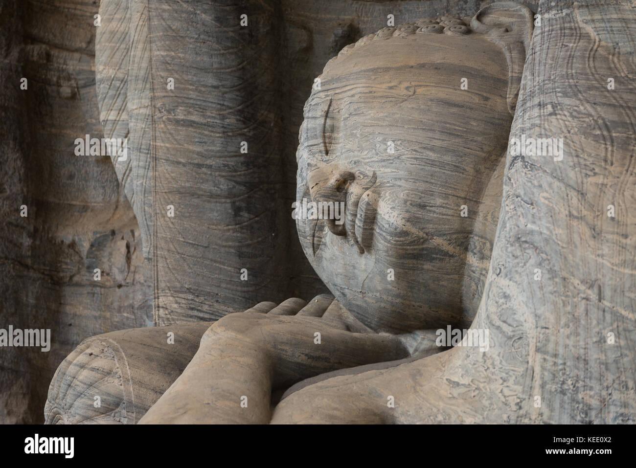 Reclining Buddha (Gal Vihara) at Ancient City of Polonnaruwa, Sri Lanka. - Stock Image