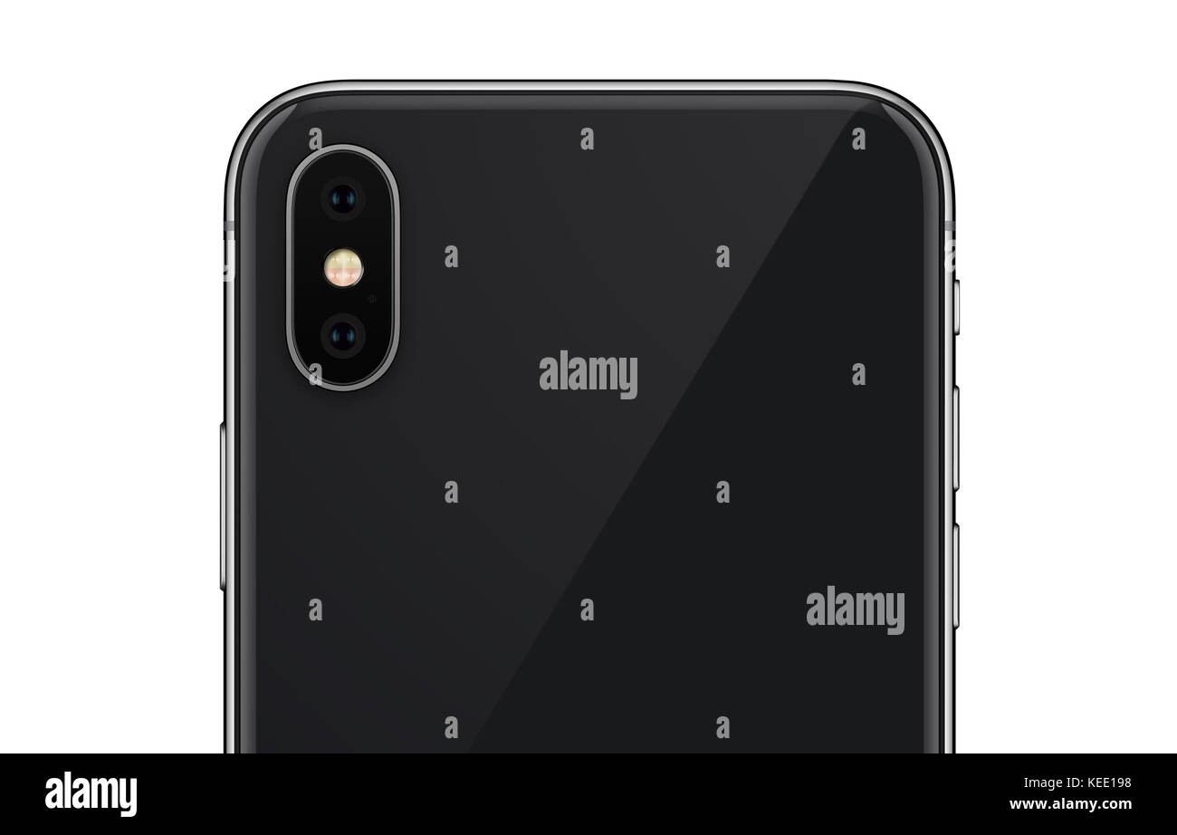 Close Up Black Smartphone Similar To Iphone X Back Side With