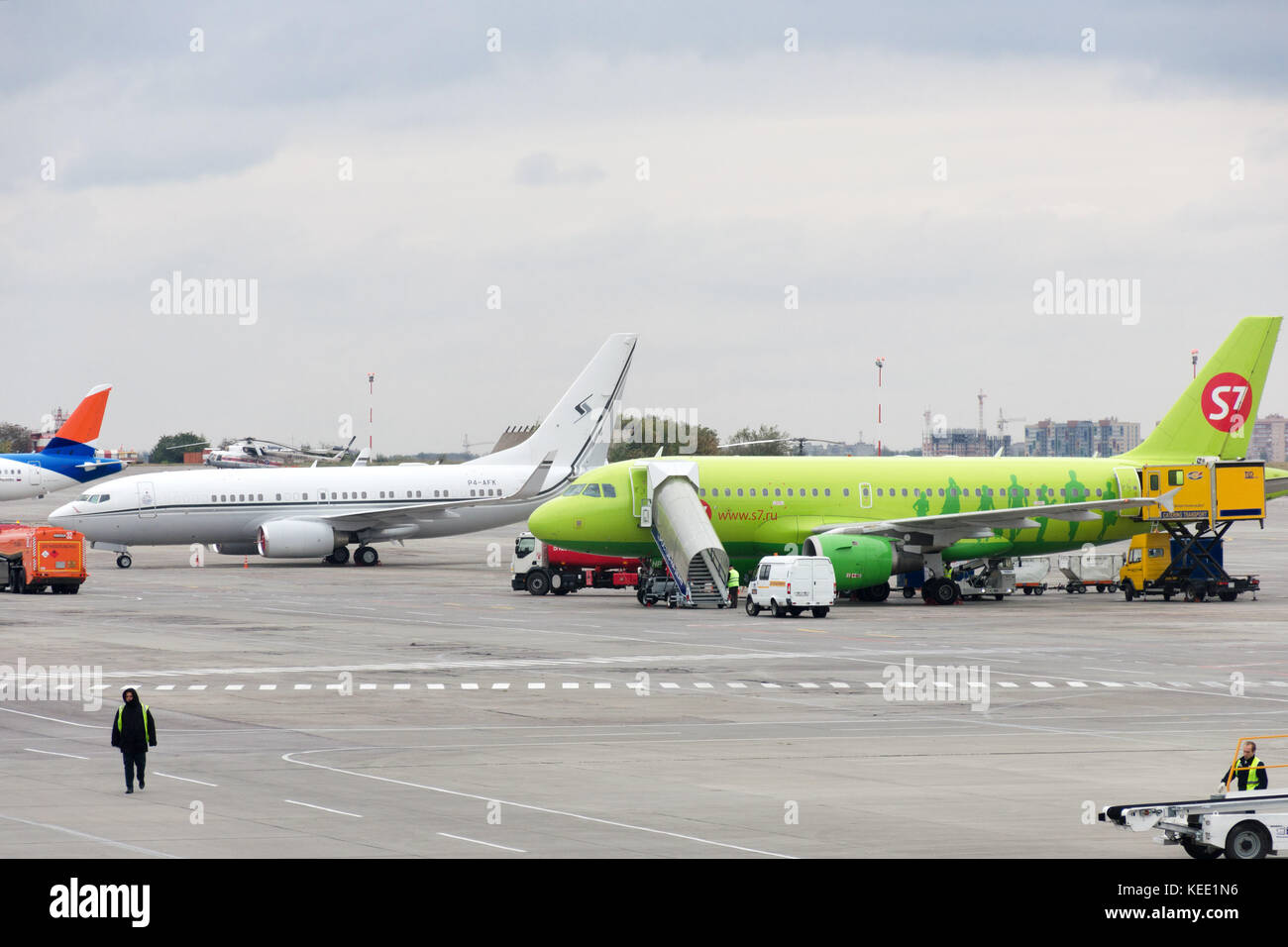 Rostov, Russia, 10-15-2017: Aircraft are serviced at the parking lot at the airport. - Stock Image