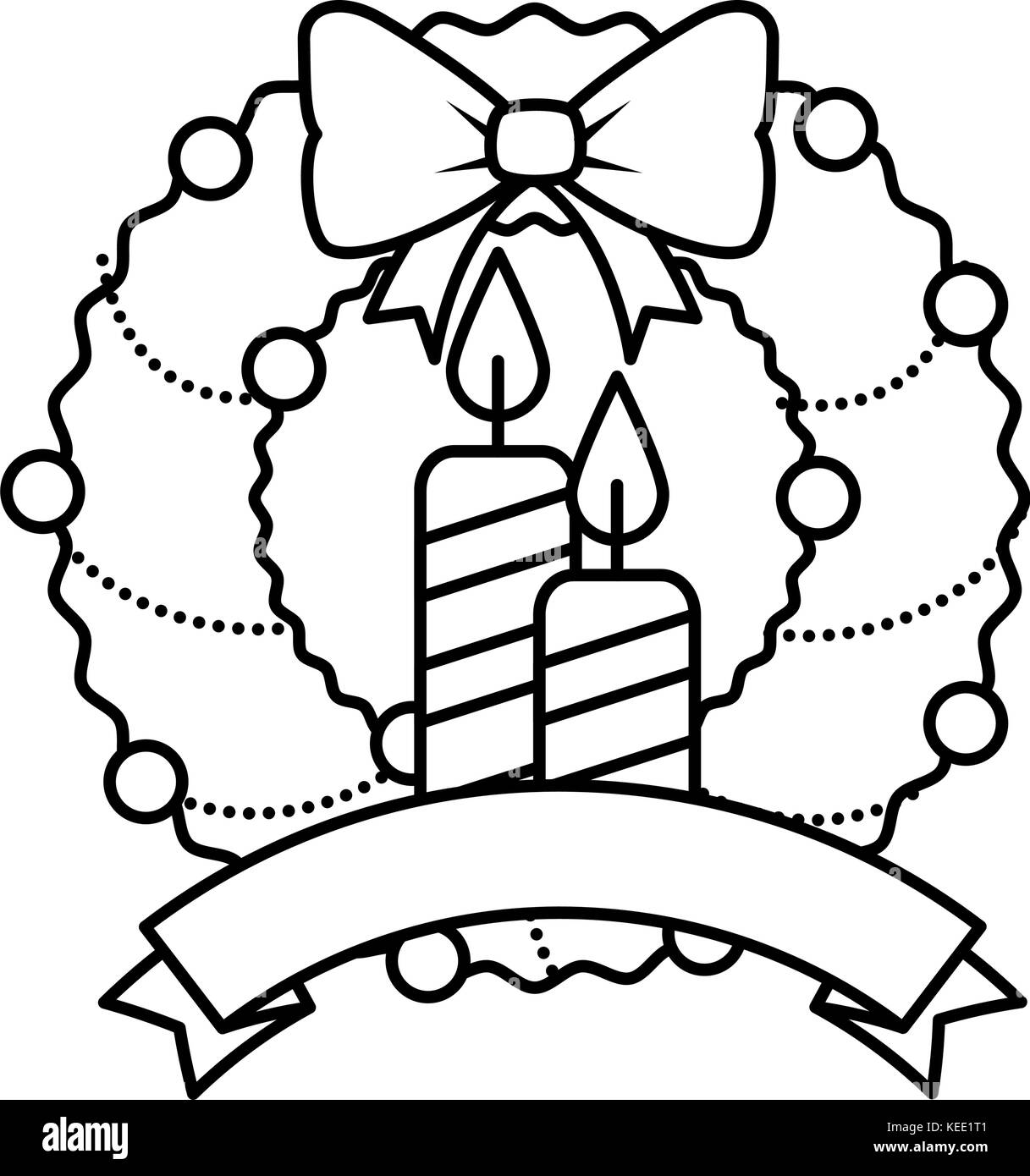 Merry Christmas Wreath Crown With Candles Vector Illustration Design