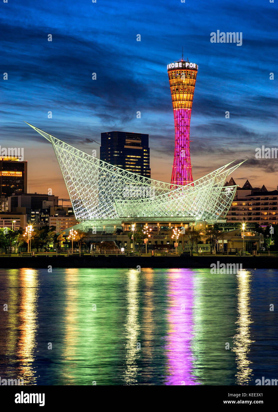 Japan, Honshu island, Kansai, Kobe, Port Tower and Meriken Park at dusk. - Stock Image