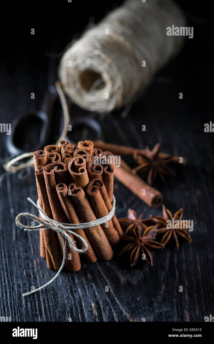Cinnamon sticks bunch tied with rope on a dark background - Stock Image