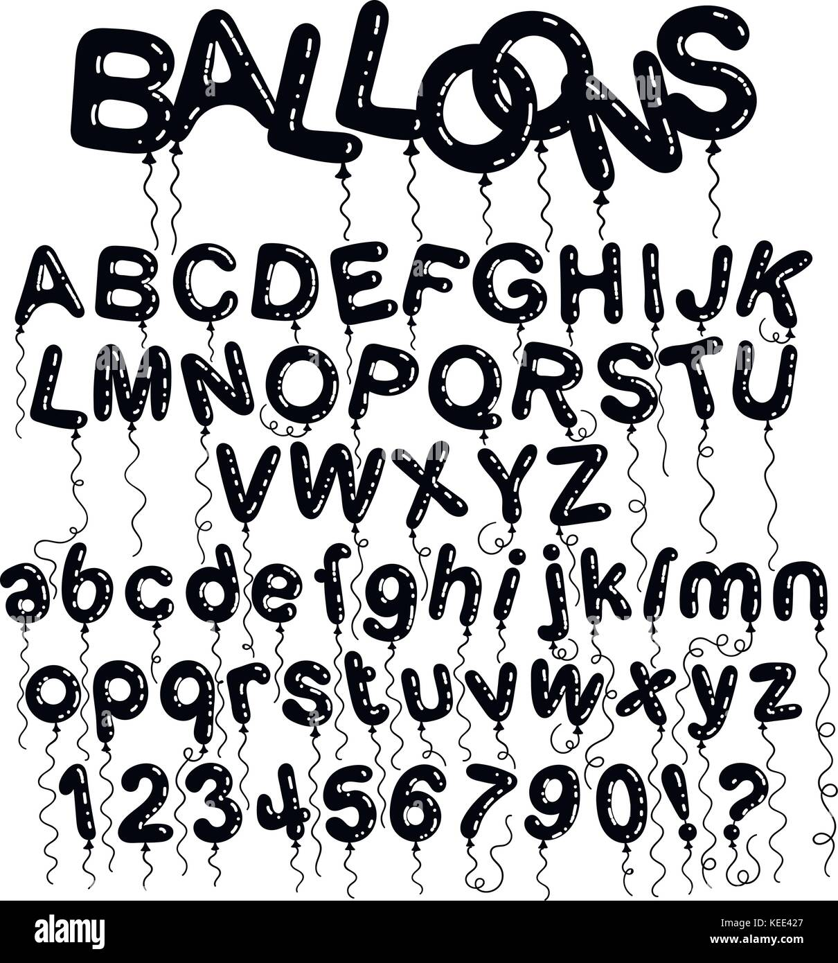 Cartoon Bubble Font Letters With Glint Vector Characters Collection