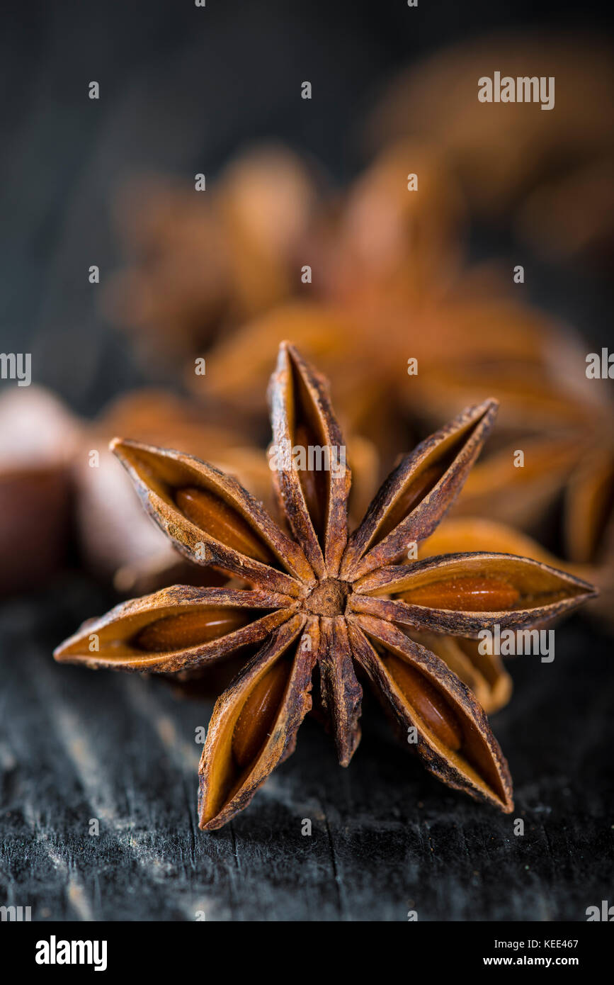 Star anise seeds, aromatic spices on a dark food photography style - Stock Image