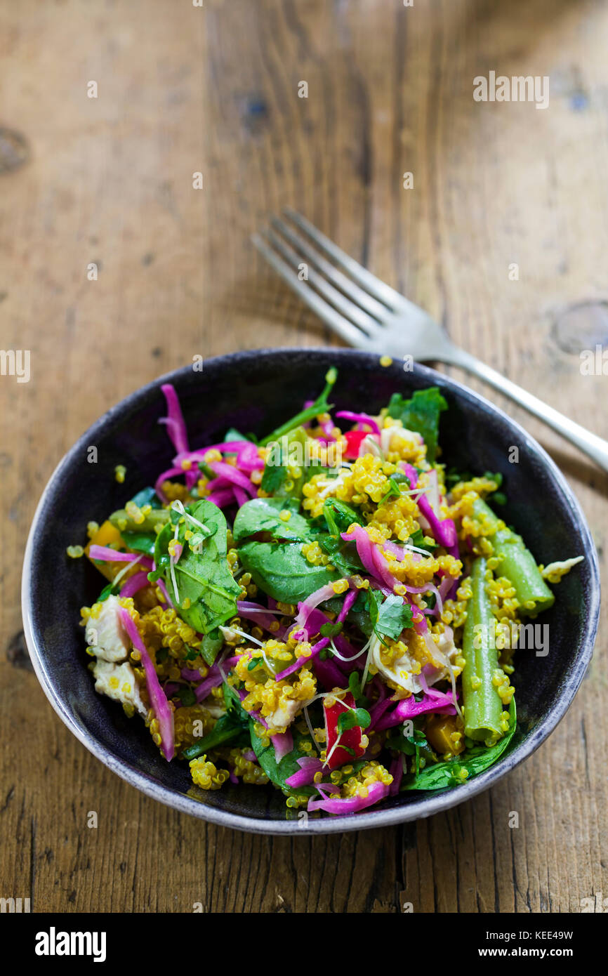 Turmeric infused quinoa with pickled red cabbage, radishes, spinach and peppers Stock Photo