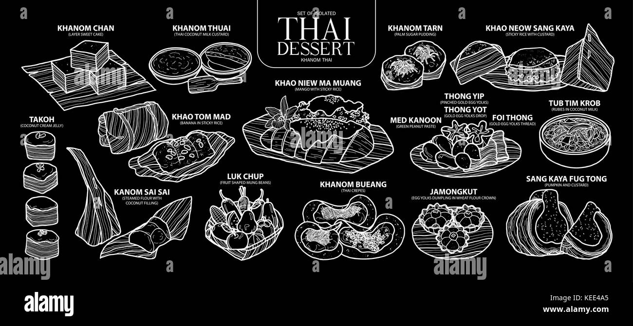 Set of isolated Thai dessert in 14 menu. Cute hand drawn food vector illustration in white outline on black background. Stock Vector