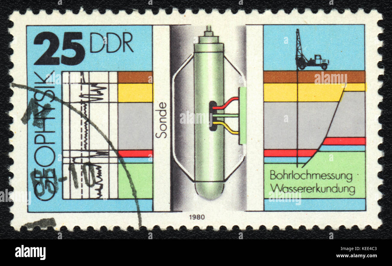 A postage stamp printed in DDR  shows Sonde, from series Geophysics, circa 1980 - Stock Image