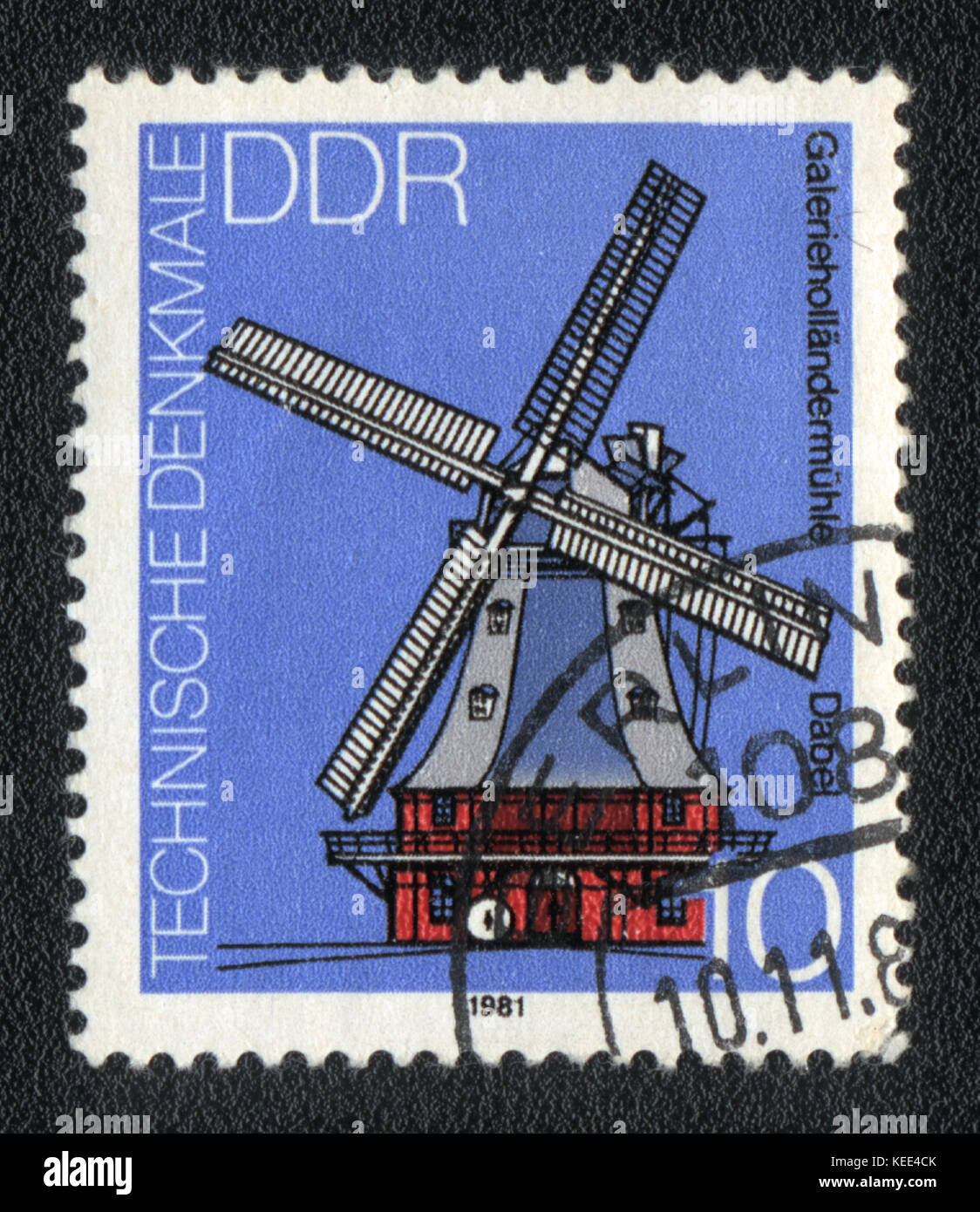 A postage stamp printed in DDR shows The mill, circa 1981 Stock Photo
