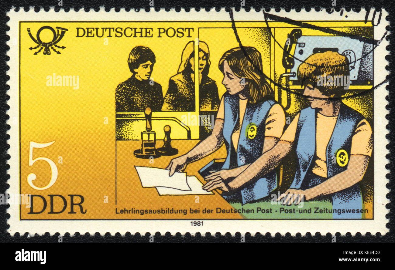 A postage stamp printed in DDR shows Training personnel to work c mailings, from series Postal History of Germany, circa 1981 Stock Photo