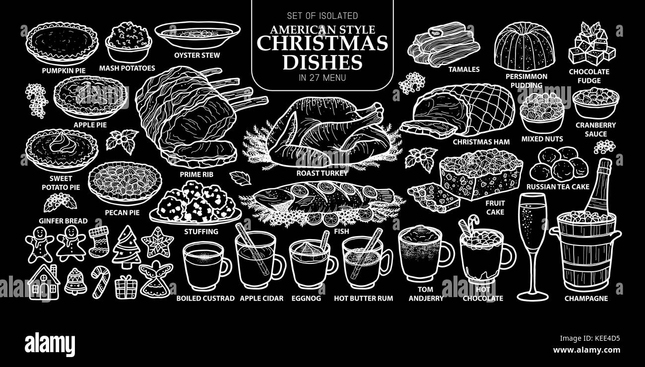 Set of isolated traditional American style Christmas dishes in 27 menu. Cute hand drawn food vector illustration - Stock Vector