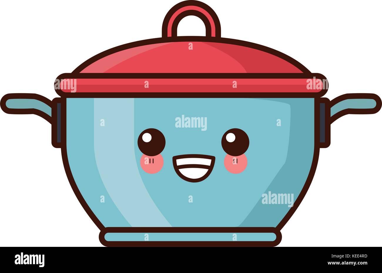 Pot With Lid Kitchen Utensil Kawaii Cute Cartoon