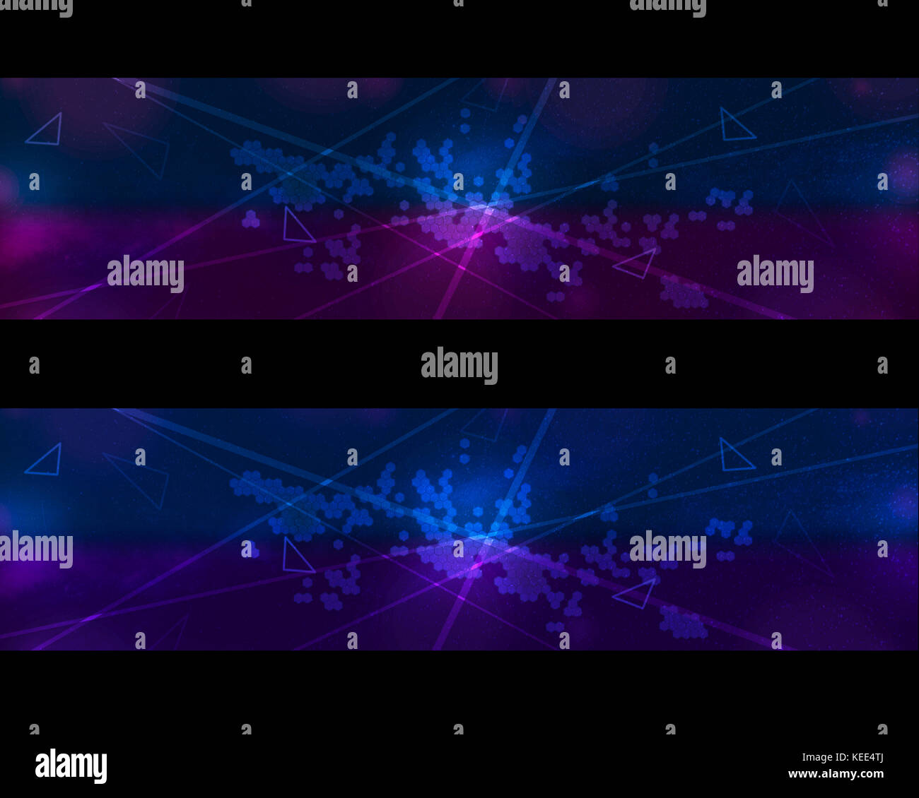Neon laser light banner uses as technological background in two tones - Stock Image
