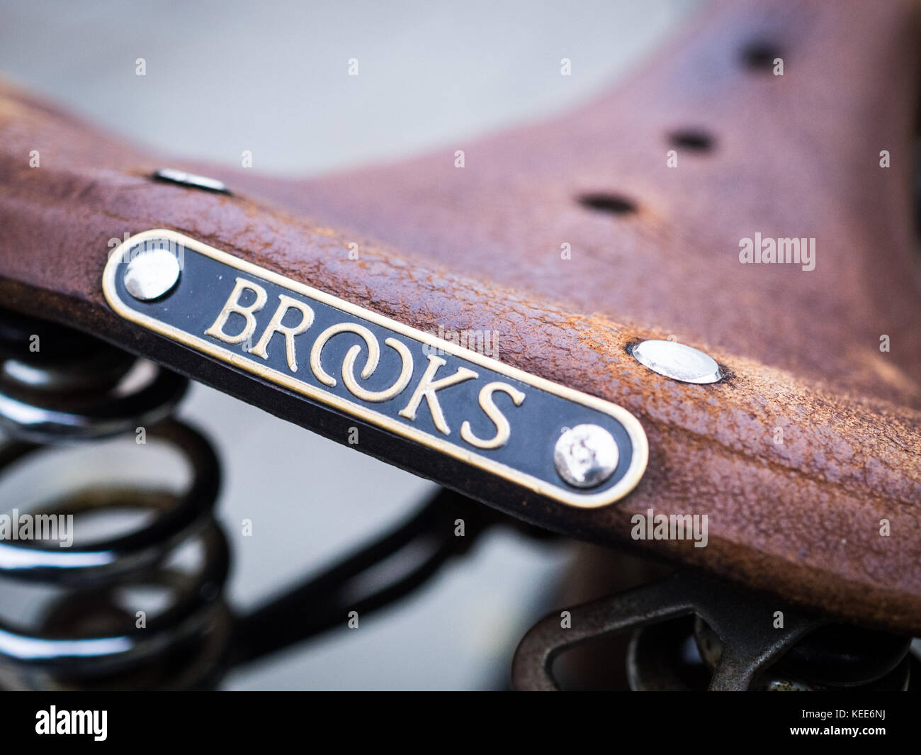 Brooks Leather Saddle - Traditional British Made Brooks Leather Bicycle / Bike Saddle Stock Photo