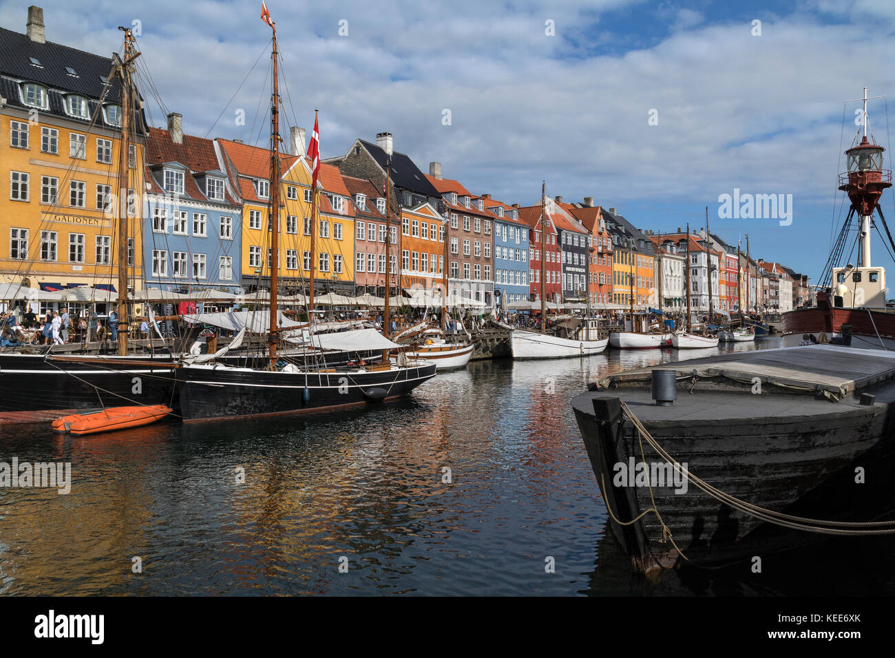 Copenhagen - Denmark.  Nyhavn or New Harbour  is a 17th century waterfront, canal and entertainment district from - Stock Image
