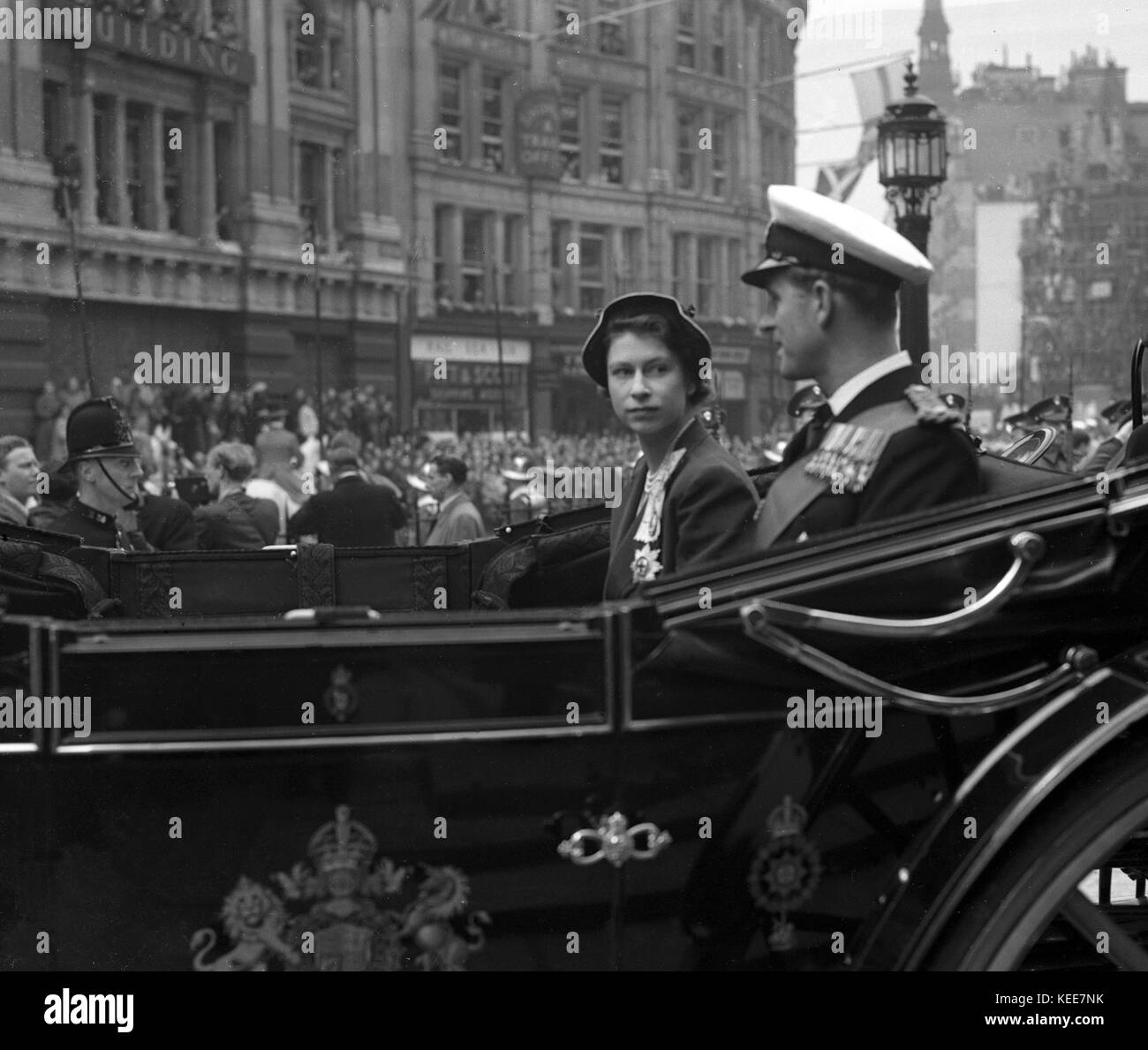 A stunning candid moment captured of Princess Elizabeth - latterly Queen Elizabeth II with Prince Philip - The Duke - Stock Image