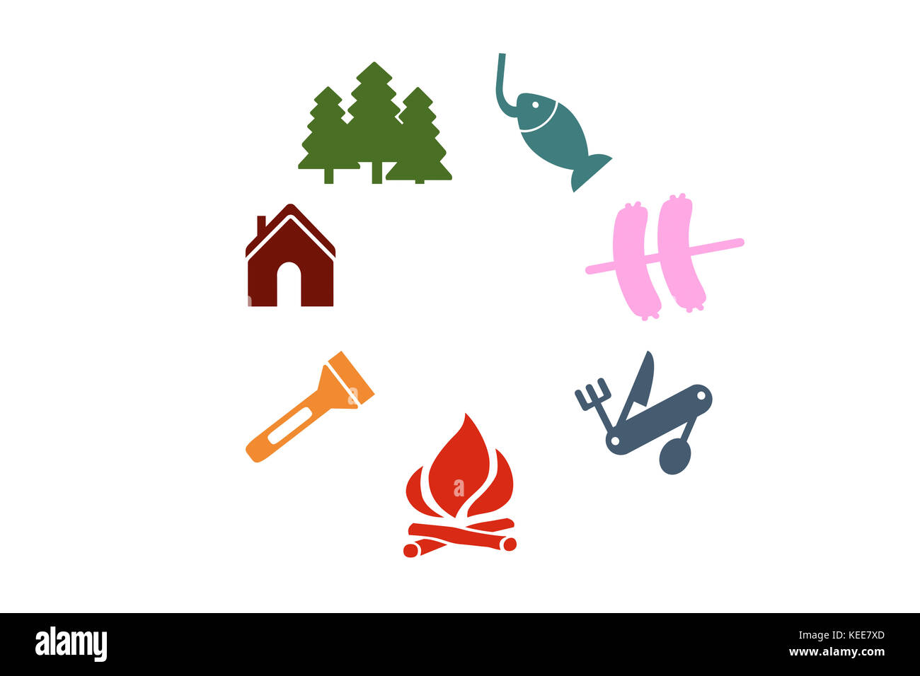 Set of colorful campground camping illustration on white background - Stock Image