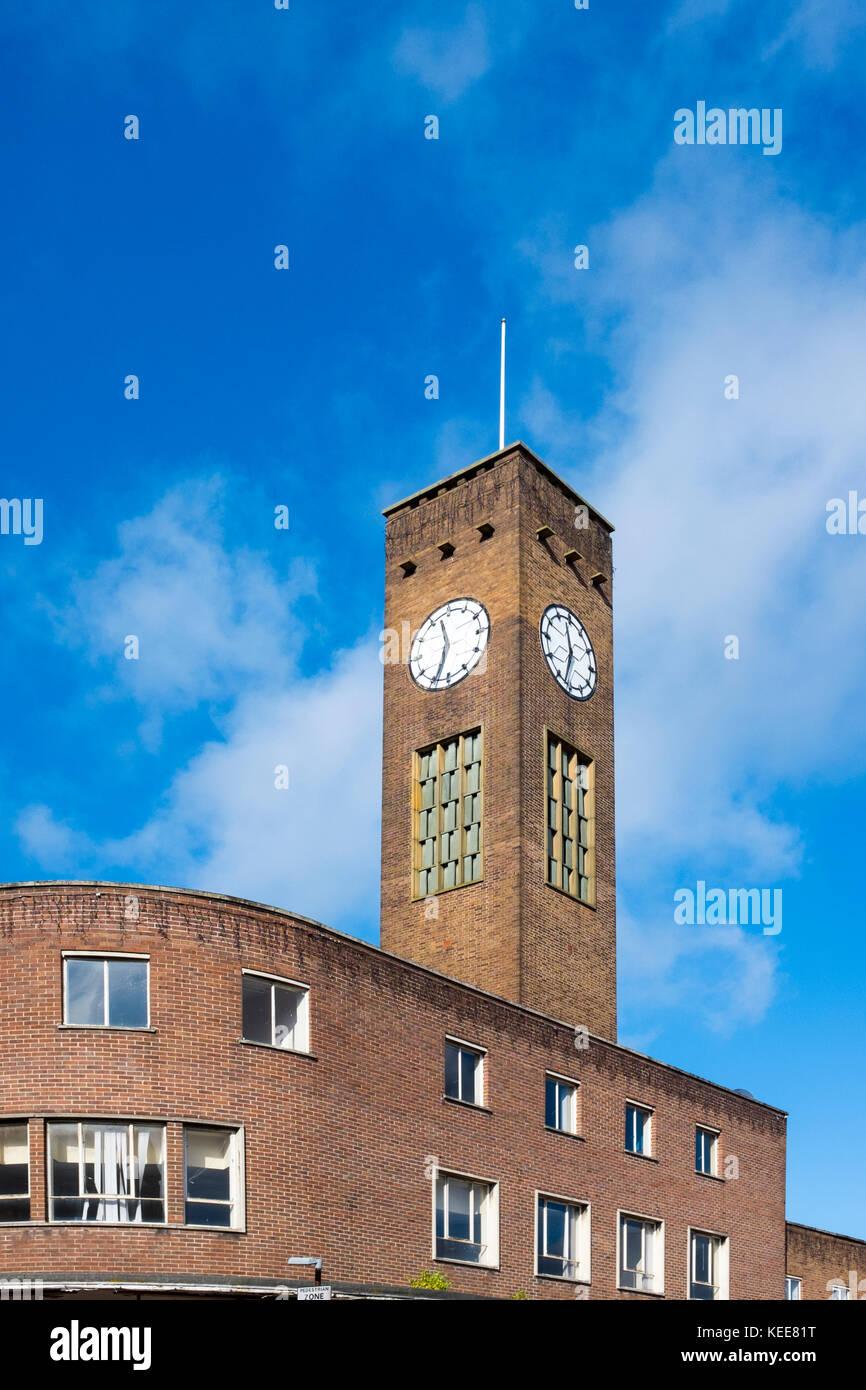 Clock tower in Crewe Cheshire UK - Stock Image