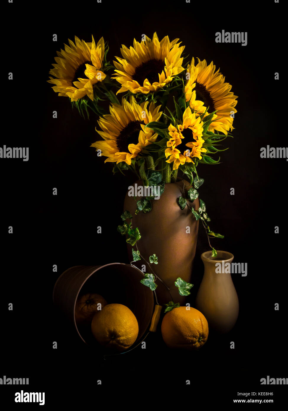 TRADITIONAL STILL LIFE Sunflowers And Oranges
