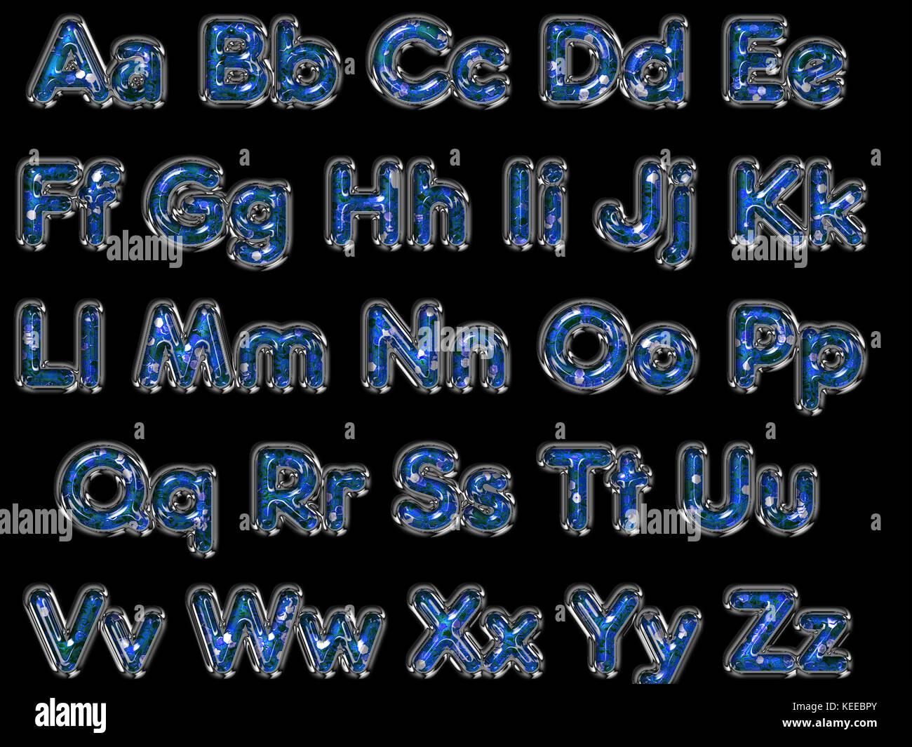 Glitter letters alphabet graphic design - Stock Image