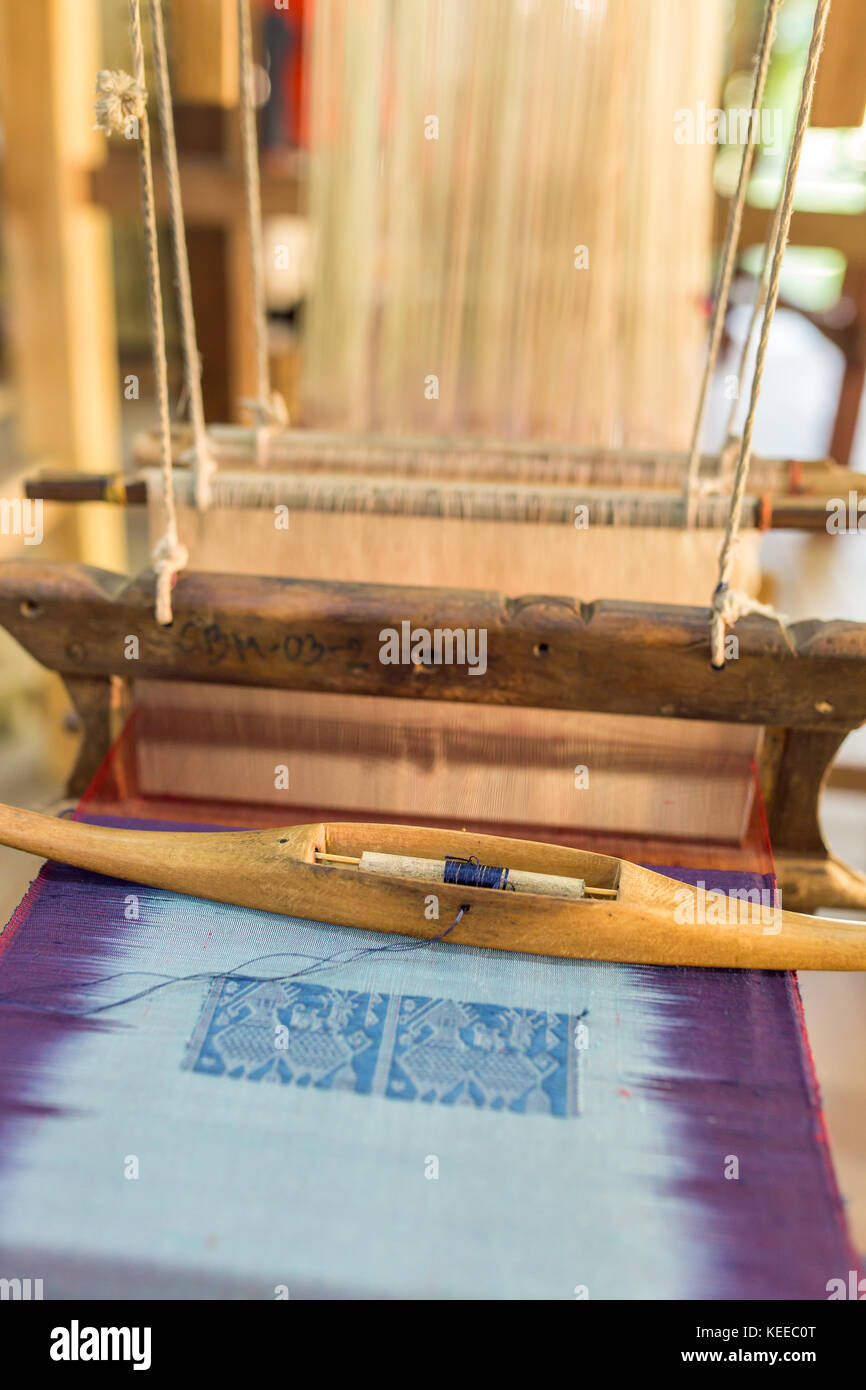 Silk production factory. Traditional manufacturing in Asia Stock Photo