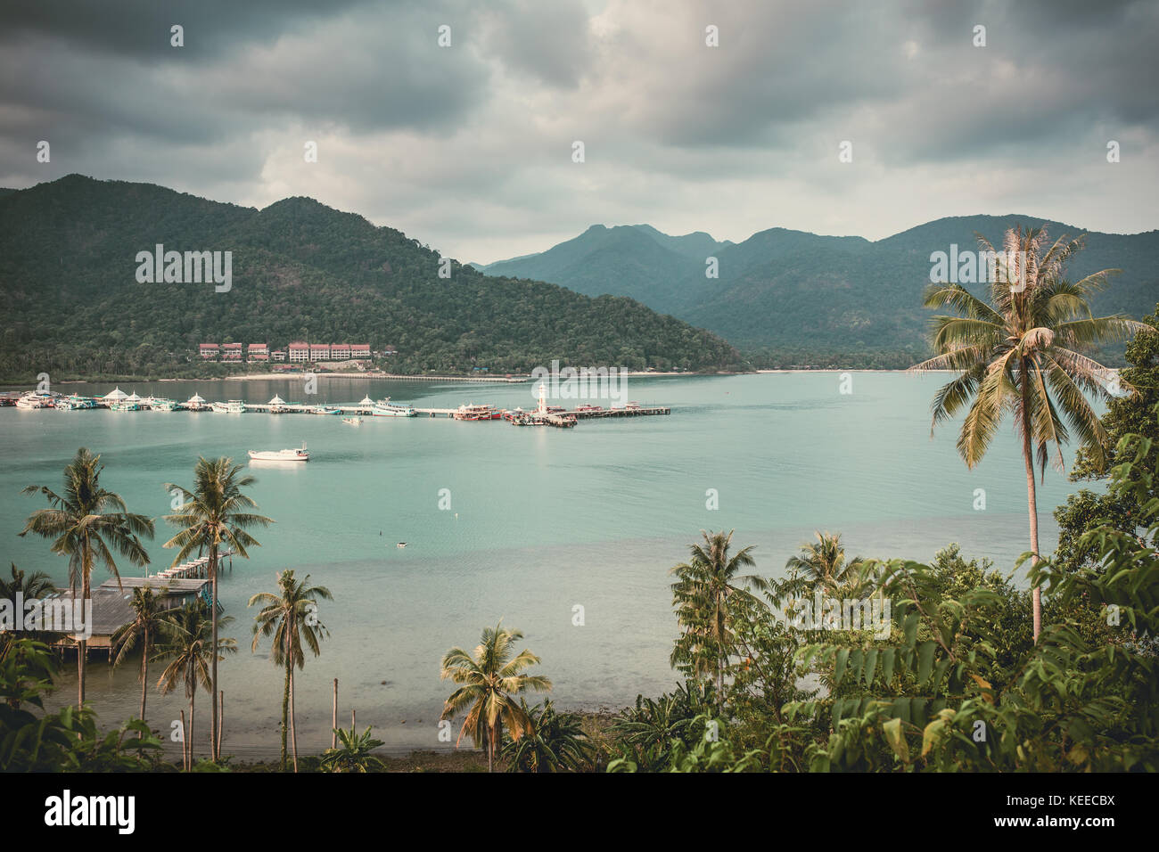 Beautiful landscape with a Bang Bao bay view on Koh Chang island in Thailand. Vintage color filter applied - Stock Image