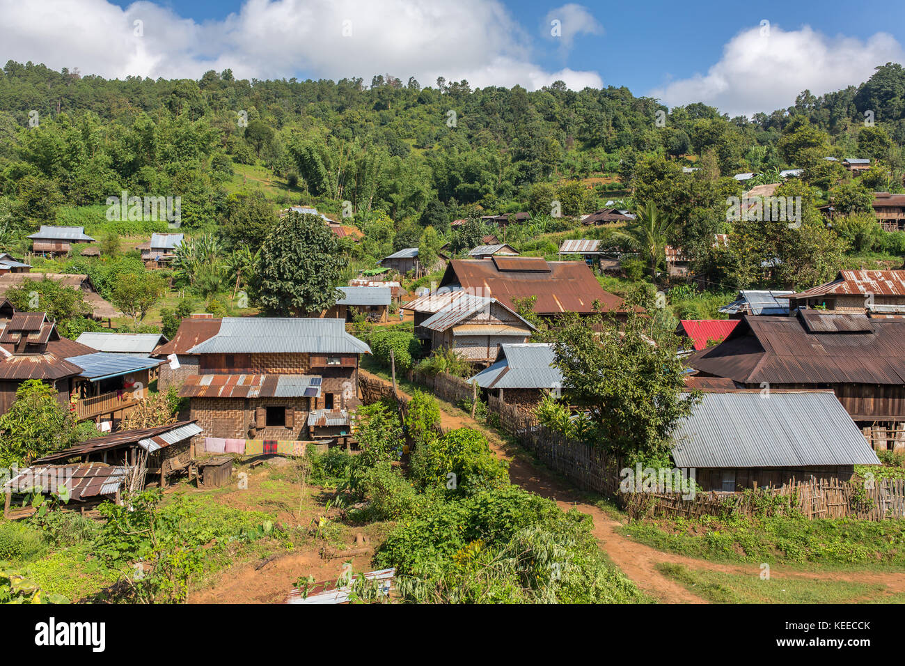 Traditional village landscape in Laos - Stock Image