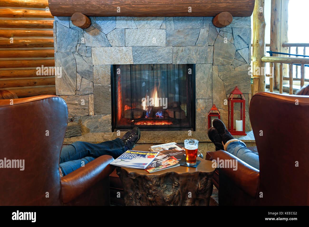 Fireplace, The Lodge at Breckenridge, Breckenridge, Colorado USA - Stock Image