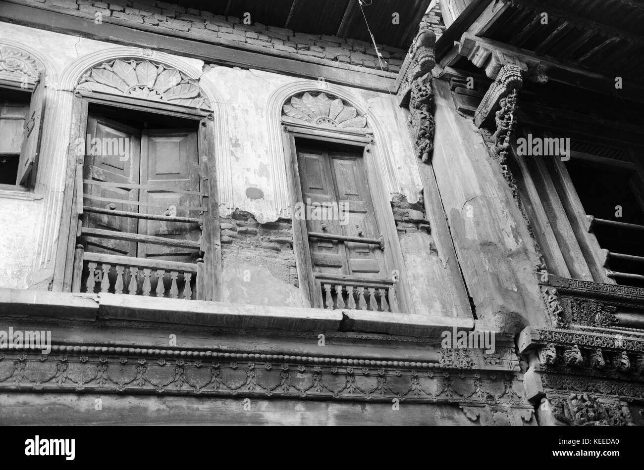 AHMEDABAD, INDIA - NOVEMBER 27, 2016: A traditional house or 'Haveli' decorated with wooden carving in the - Stock Image
