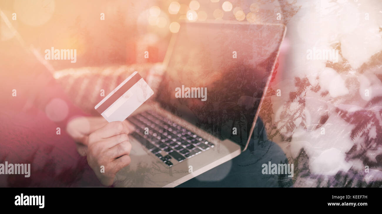 Scenic view of snow covered trees against women using laptop with cash card Stock Photo