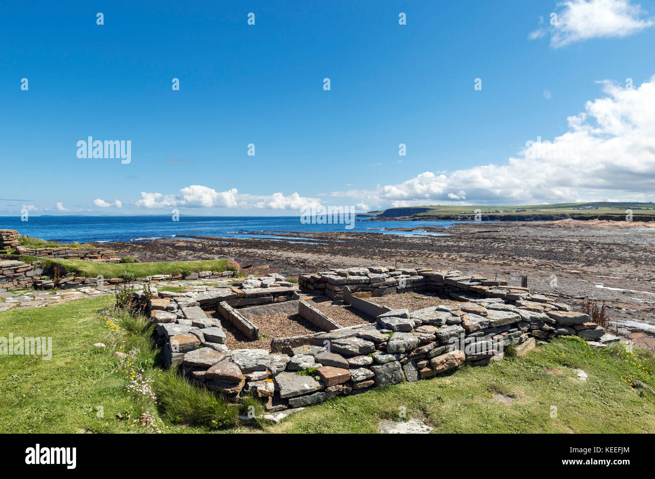 Remains of a Viking settlement from around 1000 AD, Brough of Birsay, Mainland, Orkney, Scotland, UK Stock Photo