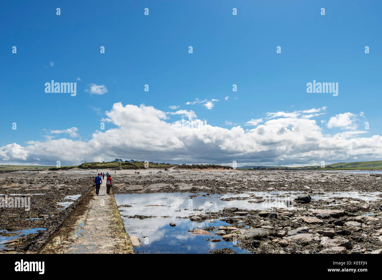 Causeway across to the Brough of Birsay at low tide, looking back towards the car park on Mainland, Orkney, Scotland, Stock Photo