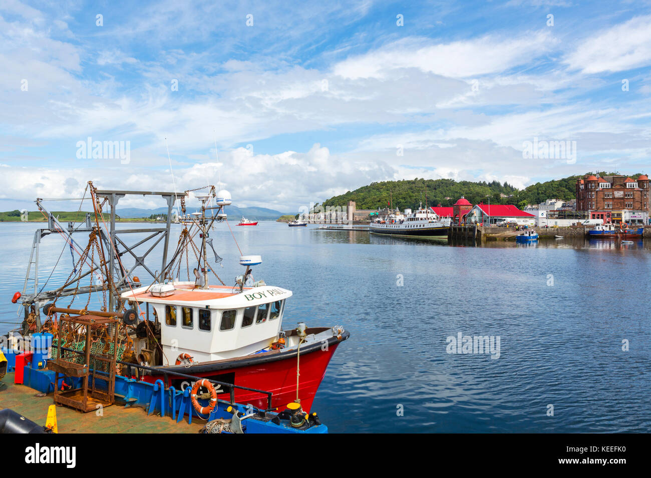 Fishing boat in the harbour, Oban, Argyll and Bute, Scotland, UK - Stock Image