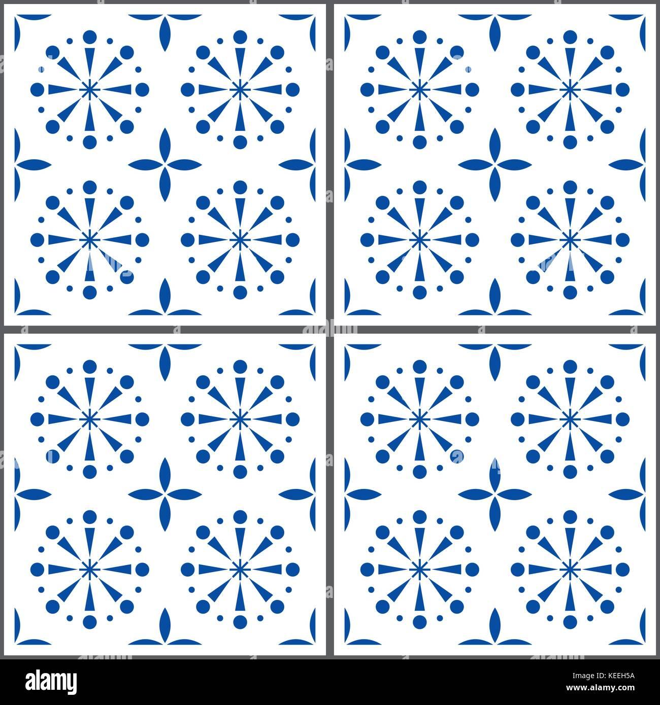 Portuguese vector tile pattern, Lisbon seamless indigo blue tiles, Azulejos vintage geometric ceramics - Stock Vector