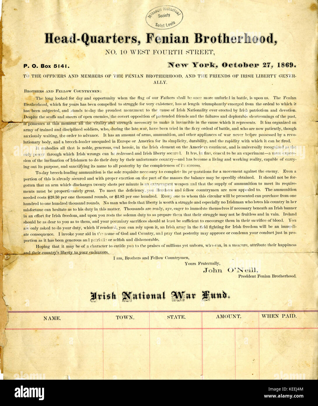 Circular letter of john oneill to the officers and members of the circular letter of john oneill to the officers and members of the fenian brotherhood and the friends of irish liberty generally headquarters thecheapjerseys Image collections