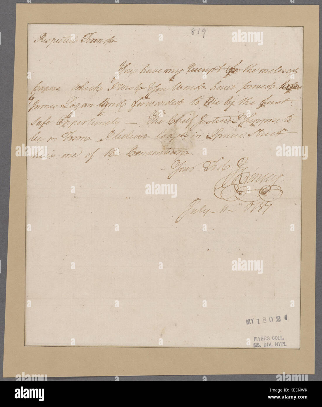 Kinsey, James. To  Respected Friend  (NYPL b11868620 5385964) - Stock Image